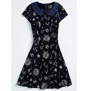 ModCloth metallic velvet horoscope dress nwot